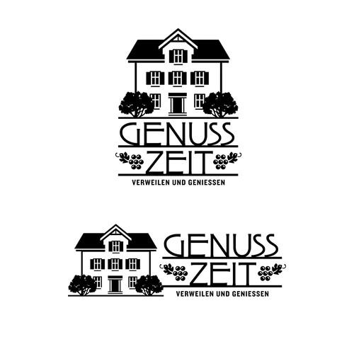 Farmhouse logo with the title 'Genuss Zeit Farmhouse and Wine Bar Logo'