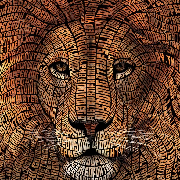Lion artwork with the title 'Typography Lion Illustration'