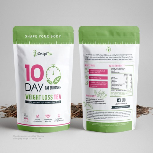 Diet design with the title 'Stand Up Pouch Design for Sculpt Tea'