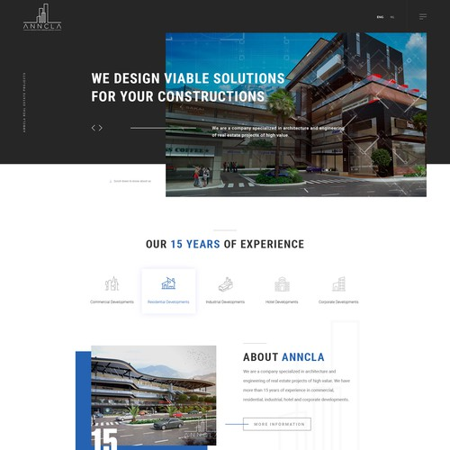 Construction website with the title 'Anncla architechure website '