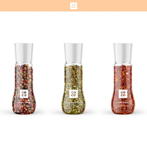 Spice packaging with the title 'Spices & herbs packaging concept'