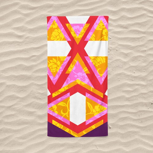 Summer illustration with the title 'Beach towel design'