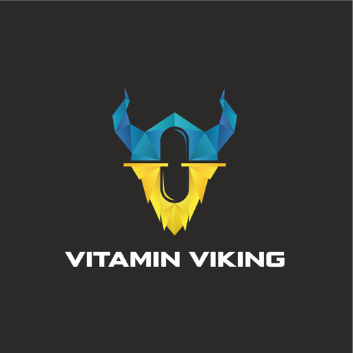 Helmet logo with the title 'Vitamin Viking. Logo for a supplement company '