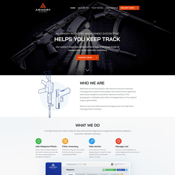 Easy-to-use website with the title 'Home Page of Armory System'