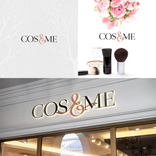 Ribbon logo with the title 'Logo for cosmetics, makeup retail stores'