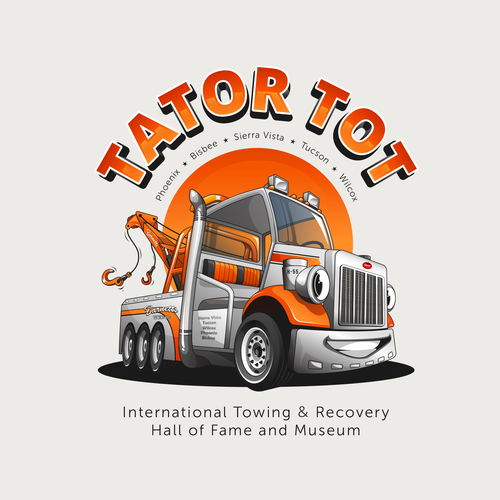 Trucking design with the title 'International Towing & Recovery Hall of Fame and Museum'