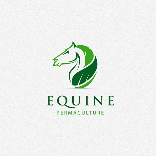 Green logo with the title 'Logo design for Equine Permaculture Service.'