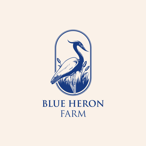 Heron design with the title 'BLUE HERON FARM'