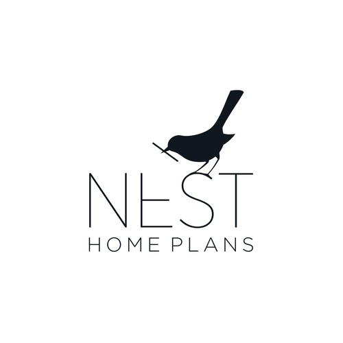 Architecture design with the title 'Nest Home Plans Logo Design'