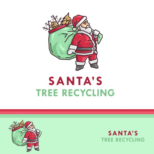 Santa design with the title 'Playful logo concept for Santa's Tree Recycling'