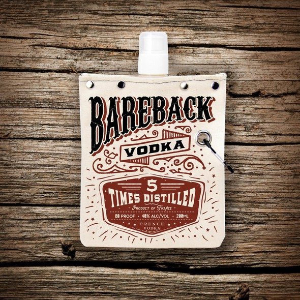 Lettering label with the title 'Western vodka'