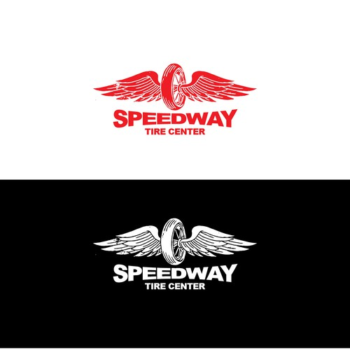 Tire design with the title 'Speed Way tire center'