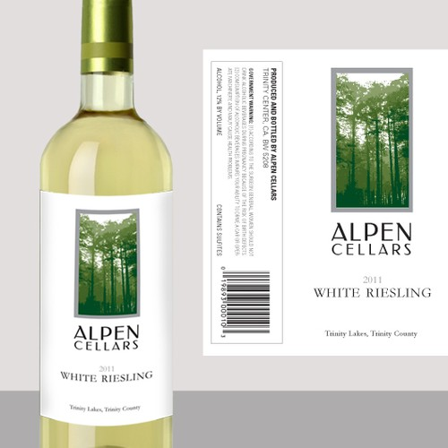 California label with the title 'Alpen Cellars wine label'