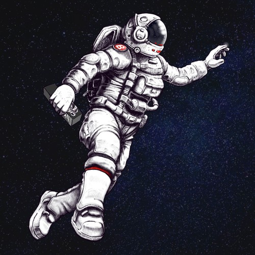 Astronaut illustration with the title 'A bottle of milk'