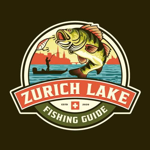 Pond logo with the title 'Logo design for School Fishing Guiding'