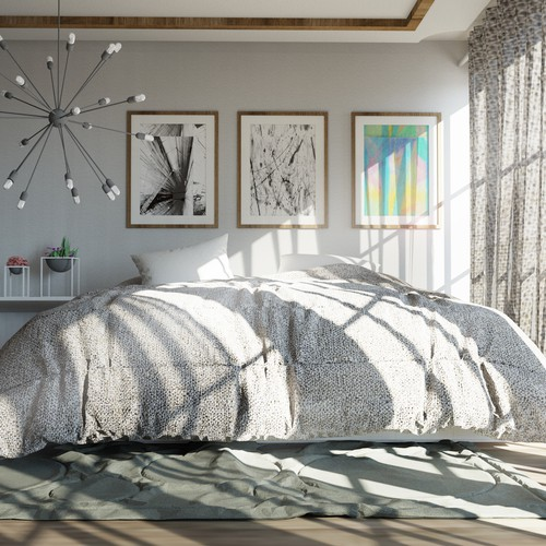 Rendering design with the title 'Bedroom interior Design and Visualization'