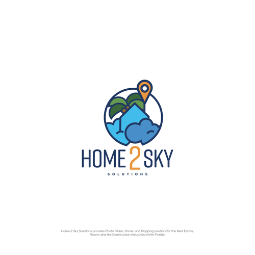 Map logo with the title 'Home 2 Sky Logo concept'