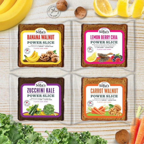 Colorful packaging with the title 'Packaging design (transparent wrappers) for 3 oz Power Slices '