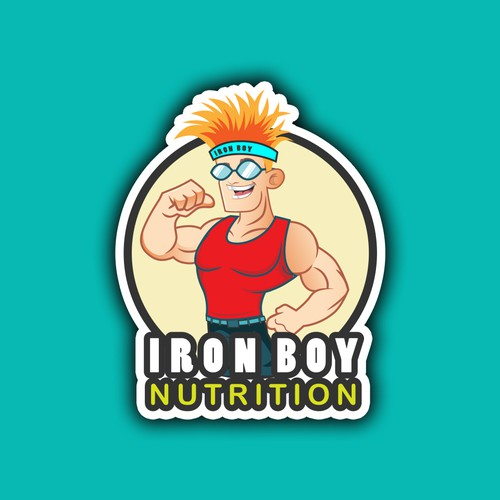 Activewear logo with the title 'Iron Boy mascot logo'