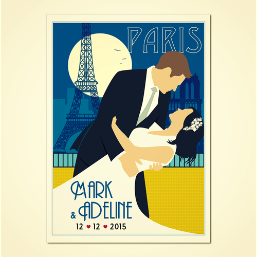 Vector artwork with the title 'Design a vintage style poster as anniversary gift'