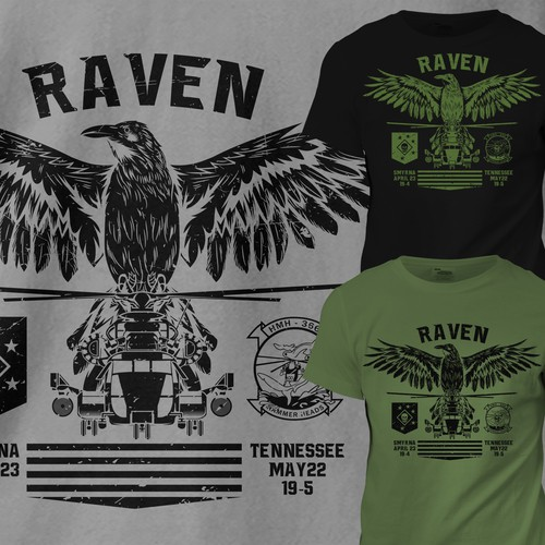 Badass t-shirt with the title 'Raven Military T-shirt'
