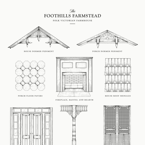 Renovation design with the title 'Elements for folk victorian farmhouse'