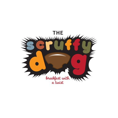 Breakfast logo with the title 'dog themed cafe'