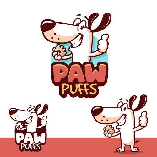 Mascot brand with the title 'Paw Puffs logo'