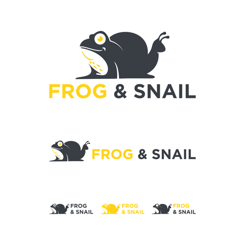 Snail logo with the title 'frog & snail'