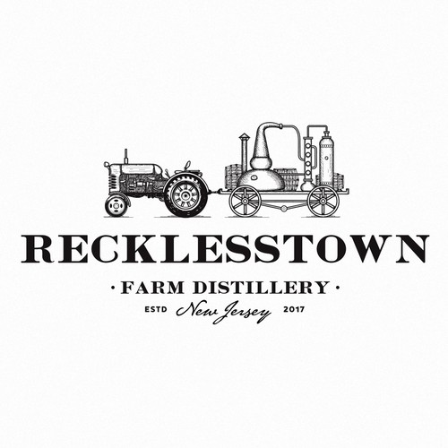 Farm brand with the title 'Recklesstown distillery'