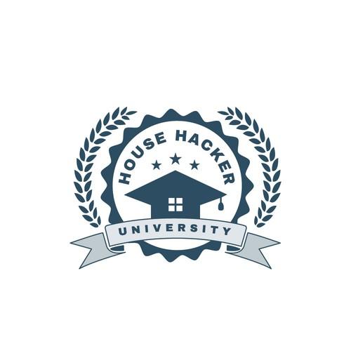 Graduation cap logo with the title 'Education logo design'