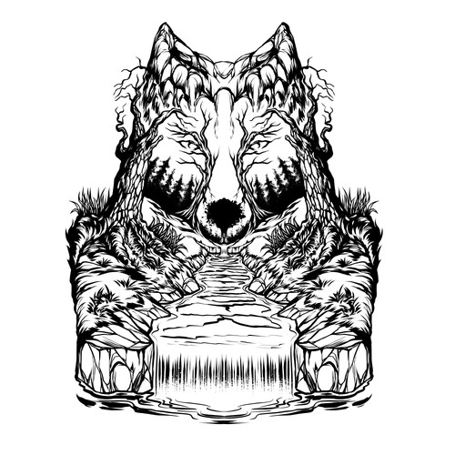 Optical illusion design with the title 'The Fox'