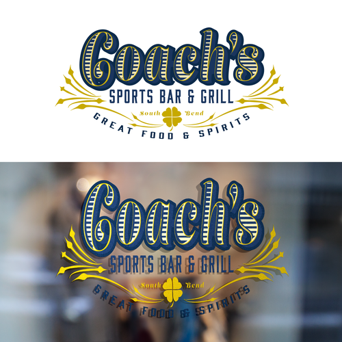 Sports bar design with the title 'Concept for Upscale Sports Bar in College Town'