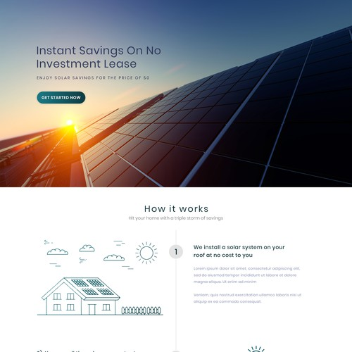 Solar panel design with the title 'Solar Panels Installation Landing Page Design'