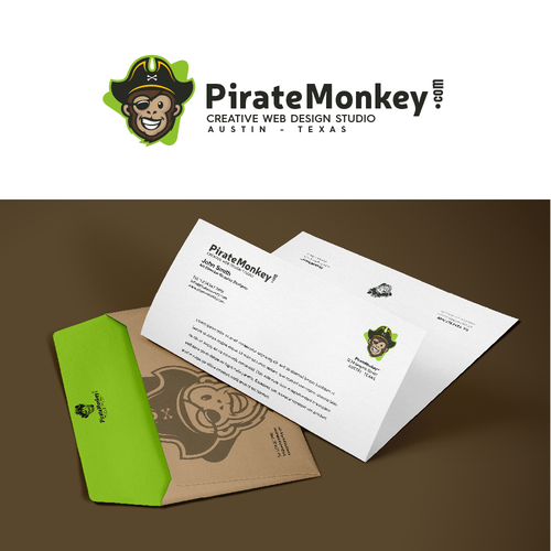 Web design logo with the title 'pirate monkey'