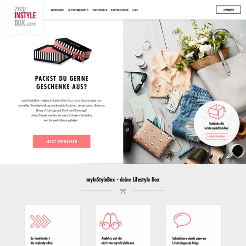 Pink website with the title 'Homepage for a fashion subscription box service'