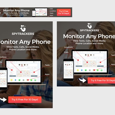 Banner ads for a cellphone monitoring app