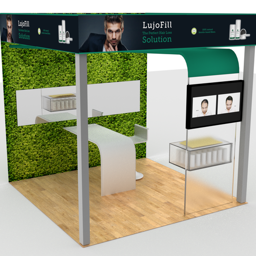 Stand design with the title 'Expo stand for hair products'