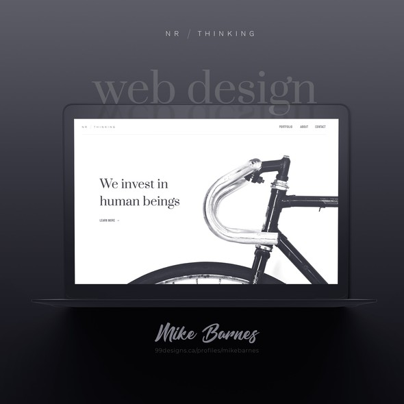 Black and white website with the title 'Minimalistic Design'