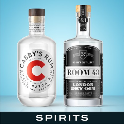Unique label design for spirits, beer and beverages