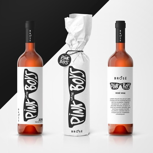 Rose label with the title 'Rosé wine label, can and box'