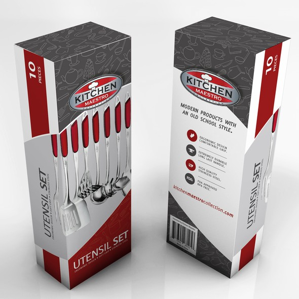 Kitchen packaging with the title 'A new approach for Kitchenware Package'