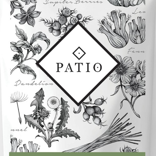Plant artwork with the title 'Natural herbs illustration label'