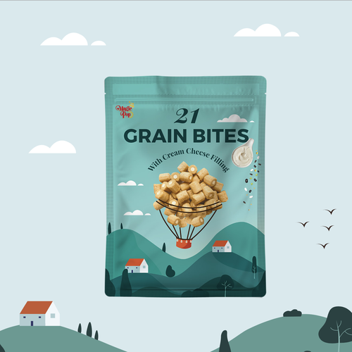 Food packaging with the title '21 Grain Bites Packaging Design '