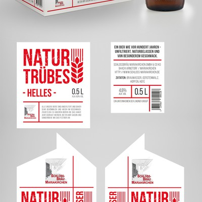 Beer label and six-bottle packaging