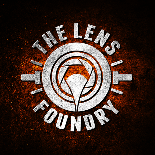 Gritty logo with the title 'The Lens Foundry'