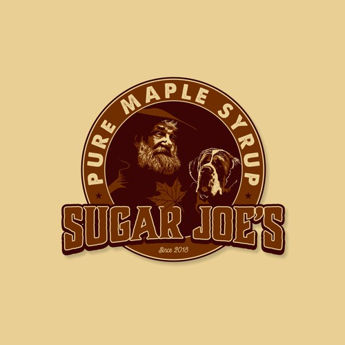 Maple leaf logo with the title 'Sugar Joe's Pure maple syrup'