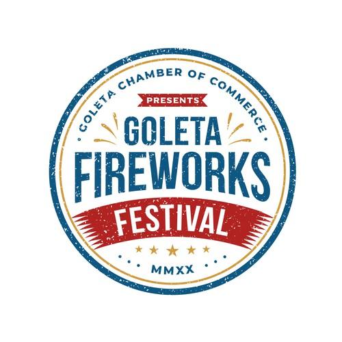 Festival logo with the title 'Goleta Fireworks Festival'