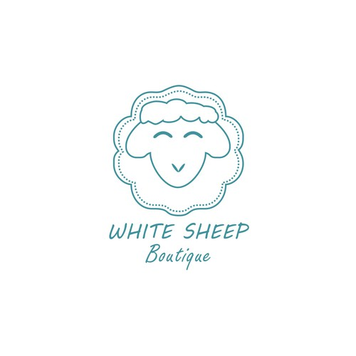 Confectionery logo with the title 'white sheep boutique'