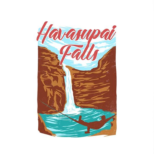 Green t-shirt with the title 'Havasupai Falls'